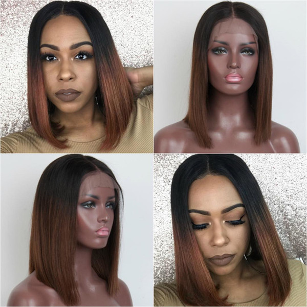 Ombre color Short Bob Lace Front Human Hair Wigs Straight Brazilian Remy Hair wigs Two Tone Color wig Pre-Plucked