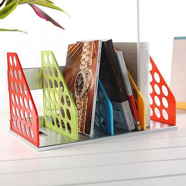 Großhandel Neue Diy Kunststoff Buchstütze Büro Datei Dokument Tray Halter Multifunktions Magazin Rack Schreibtisch Regal Schreibtisch Veranstalter