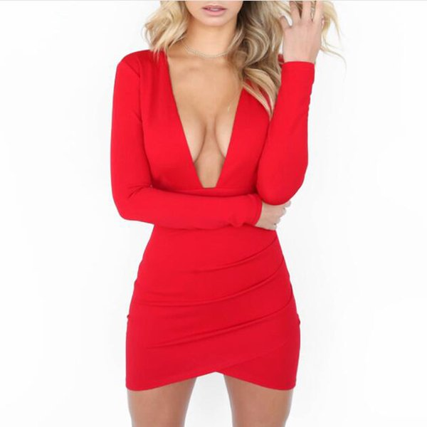 Fall 2018 Sexy Deep V Neck Backless Bodycon Dress Black Red Long Sleeve Open Back Night Club Evening Christmas Party Dresses