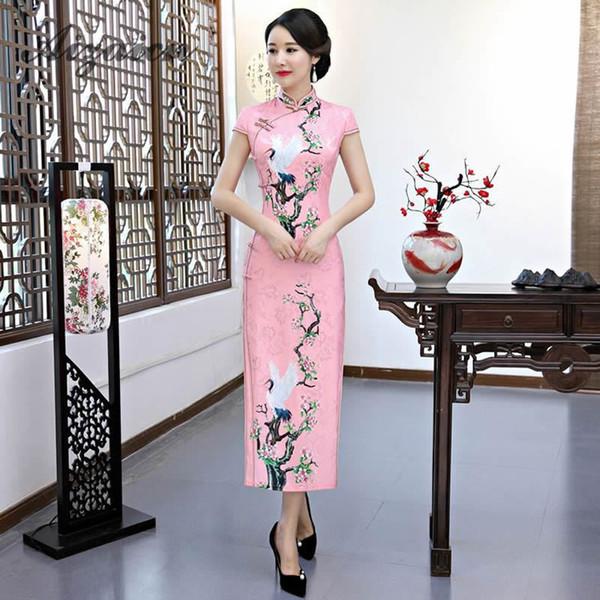 Hot Pink Wedding Cheongsam vestido de seda oriental chino tradicional mujer elegante Qipao vestidos largos de fiesta vestido de noche China