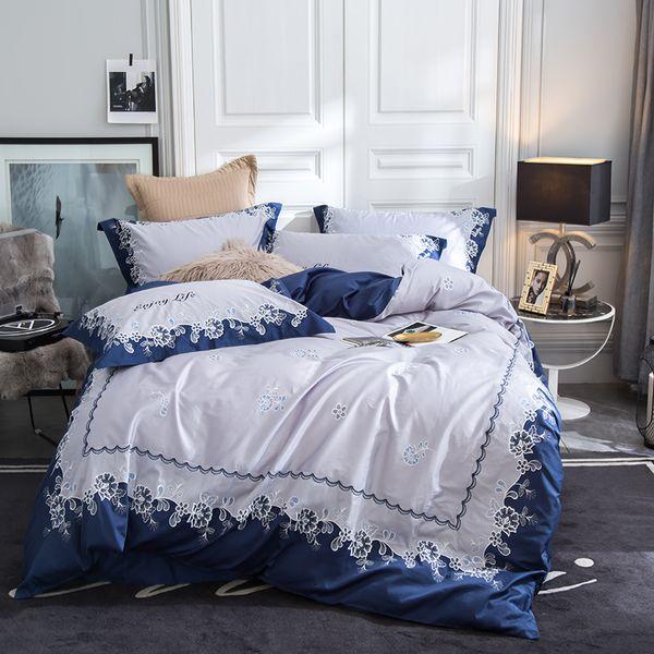 Ocean blue luxury embroidery 80S Egyptian cotton duvet cover flat sheet pillowcase set, flowers stripes 4PCS bedding sets
