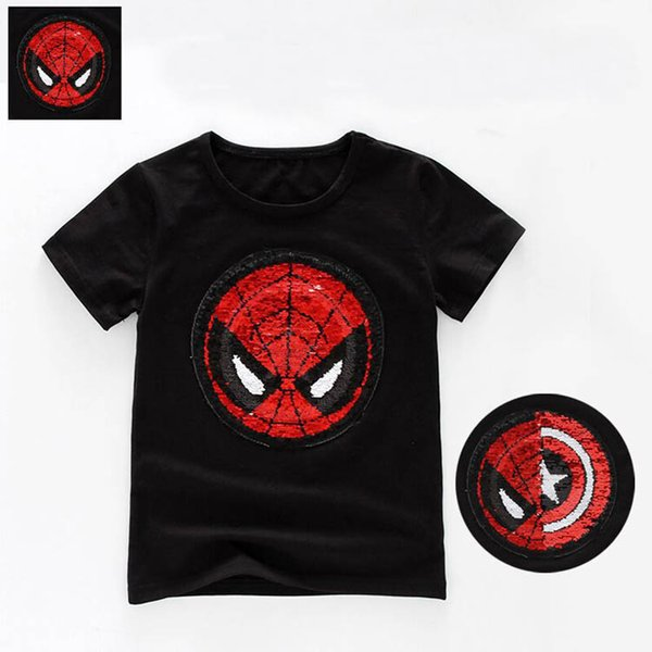 Spiderman Capitaine Paillettes Réversibles T-shirt Bling Change Design Tee Topsfor Enfants Garçon Fille D'été Brodé Patch Reverse T-shirts Manteau