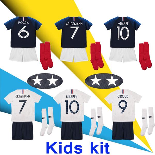 Kit infantil 2 estrellas GRIEZMANN MBAPPE Camisetas de fútbol POGBA 2018 camisetas del mundial DEMBELE MARCIAL KANTE camisetas fútbol GIROUD Maillot de foot