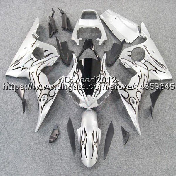 5Gifts+Custom black flames+silver YZF-R6 03-05 motorcycle ABS Plastic Body kit for YAMAHA YZFR6 2003 2004 2005 bodywork Fairing