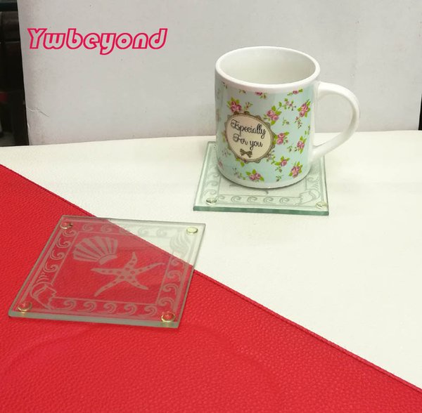 free shipping 200pcs=100boxes beach theme square starfish glass coasters cup mat sets wedding coaster favors and giveaway gifts