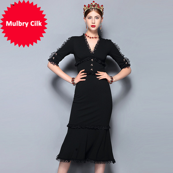 Fashion Runway Summer Dress Women's V-Neck Vintage Black Lace Patchwork Bodycon Sexy Mermaid Party Dress 2018