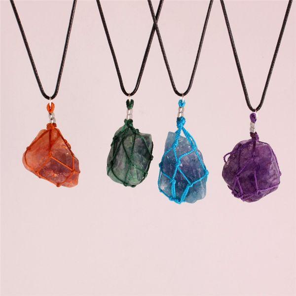 vente en gros 3pcs quartz naturel cristal brut point de pierre chakra point de guérison poisson filet Dreamcatcher indiens amulettes pendentif collier