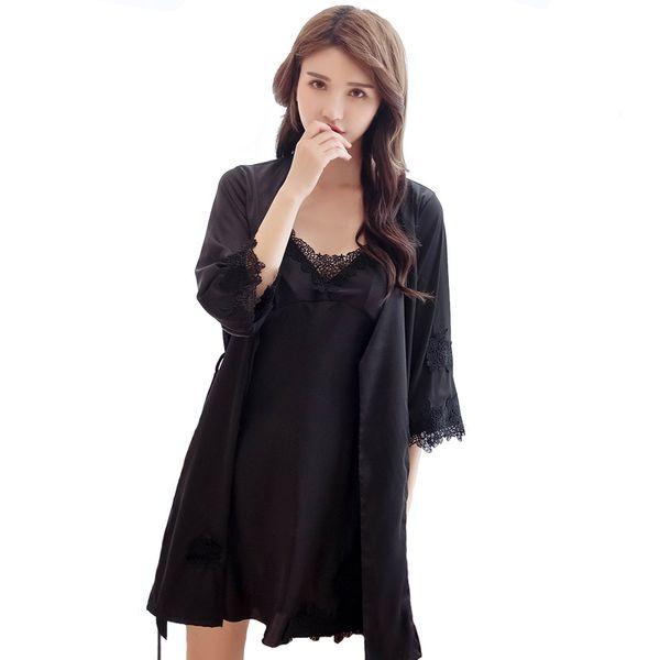 Black Sexy Nighty&Robe Set Applique Kimono Robe Ice Silk Sleepwear Women Intimate Lingerie Casual Home Dressing Gown Nightwear