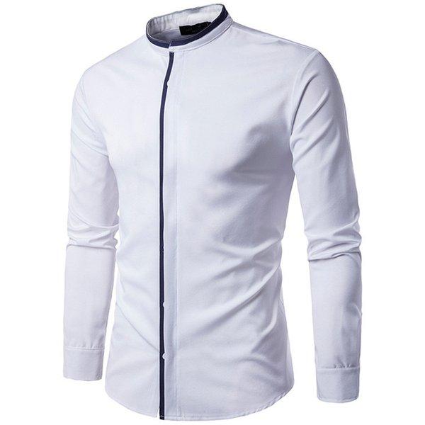 Élégant Dîner Chemise De Mode Stand Collar Europe Style Mature Hommes Outwear Blouse Couvert Bouton Bureau Blusa Mâle Patchwork Haut