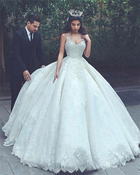 Arabic Dubai 2018 Ball Gown Wedding Dresses V Neck Beaded Lace Applique Backless Sexy Backless Court Train Bridal Gowns