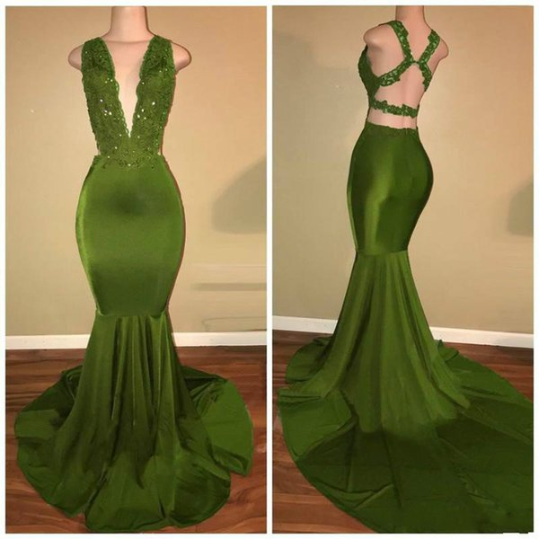 Sexy African Girl Deep V-Neck Sequins Party Prom Dress Elegant Satin Mermaid Lace Applique Backless Evening Dress Free Shipping