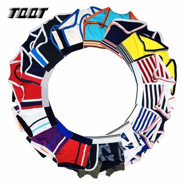 TQQT 10 Pieces/Lot Men Underwear Print Wide Belt Man Boxers Striped Boxer Sexy Underwear Patchwork Men Male Panties Solid 5U0000