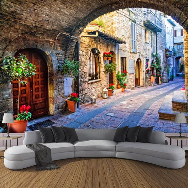 Papel De Parede Não-tecido Personalizado Foto Papel De Parede Mural 3D Cidade Italiana Vista Da Rua Paisagem Europeia Parede Covering Papel De Parede