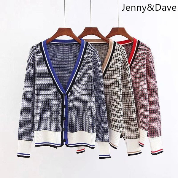Jenny&Dave 2018 england style sweater winter panelled single breasted pockets plaid fallow cardigans cotton Women's sweater 0906