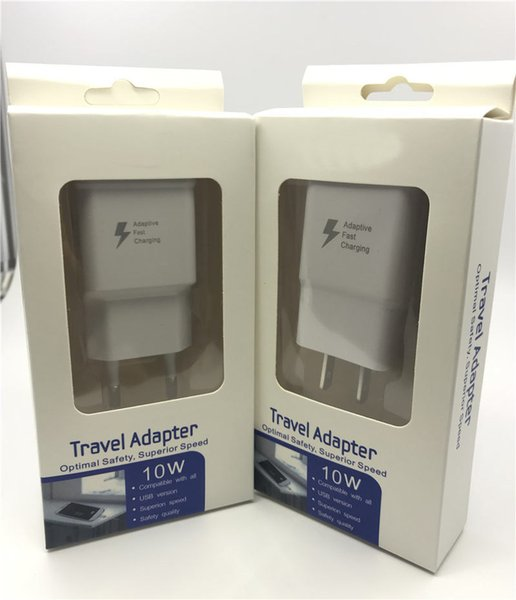 Fast Charging Wall Charger US EU Quick Travel Chargering Adapter 5V 2A Cell phone Chargers With Retail Package box For Samsung S6 S7