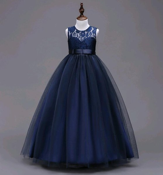 Long Tutus for Girls New Arrival Children Lace Prom Dresses Ball Gown Kids Blue Pink 7colors