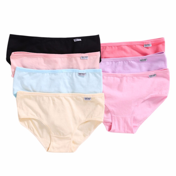 Womens Girls XL Plus Size Underwear Breathable Candy Color Solid Briefs Panties Comfortable Cotton Blend Underpants Knickers