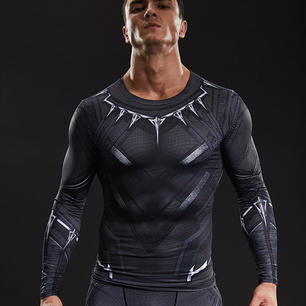Black Panther 3D Printed T-shirts Captain America Civil War Tee Long Sleeve Cosplay Halloween Costumes Compression Tops Male For S917