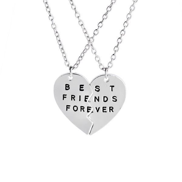 Лучшие друзья навсегда BFF письмо ожерелье женщины сердце 2 части сращивания кулон ожерелья девушки дружба ювелирные изделия