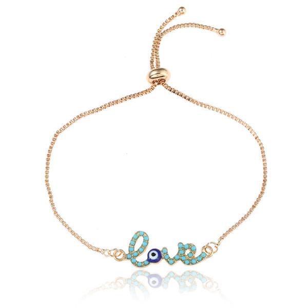 Nouveau Simple Amour Design Turc Or Chaîne Evil Eye Bracelet Crstal Blue Eye Or Bracelets pour Femmes Filles Dubai Amour Bijoux