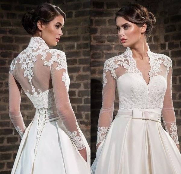 Plus Size Lace High Neck Wedding Wraps With Long Sleeves Sheer Bolero Jackets Tulle Bridal Accessories Custom Made
