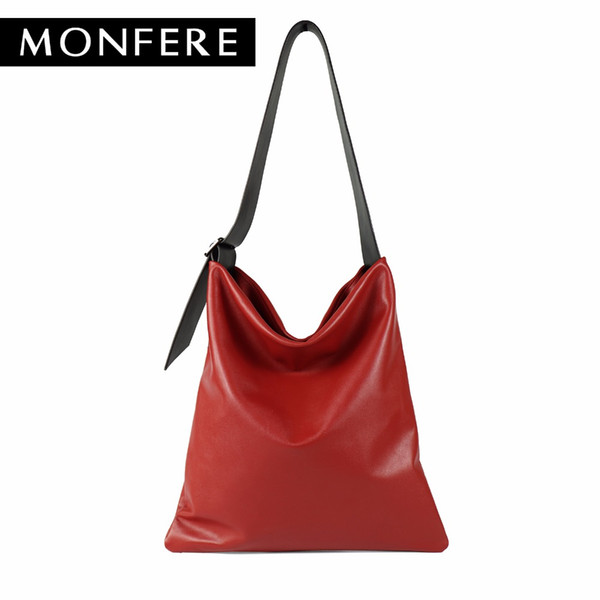 Wholesale-MONFERE real genuine leather bag casual hobo soft skin cowhide shoulder bags leisure large luxury handbags women bags designer