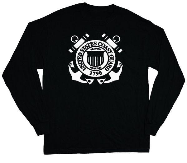 US Coast Guard sweatshirt Men/'s black crew neck USCG anchors design black white