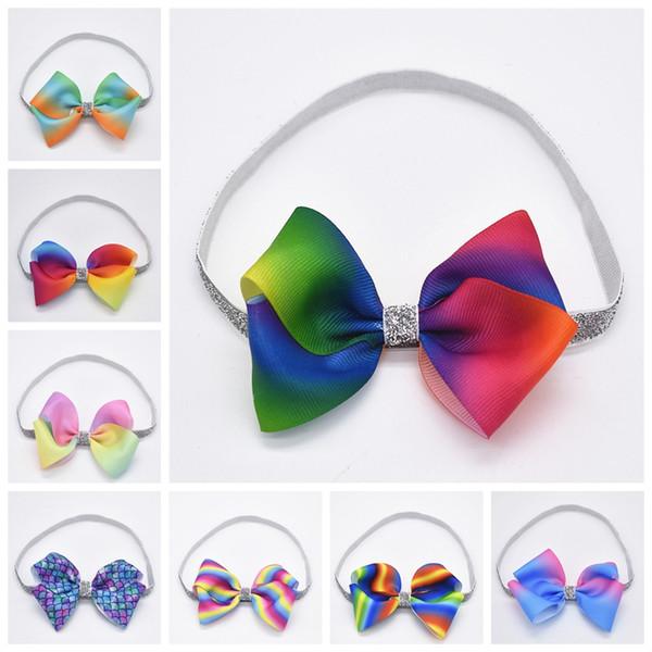 "12pcs baby hair band accessories 4"" rainbow mermaid grosgrain ribbon bows glitter elastic headbands for girls headwear HD108"