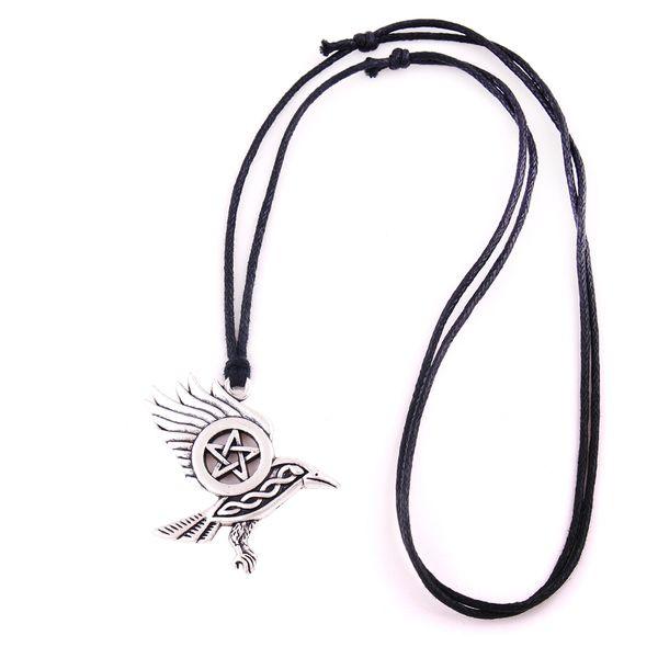 Raven Pentacle Charm Pendant Morrigan Crow Magic Pendant Wheat Chain Necklace Drop Shipping