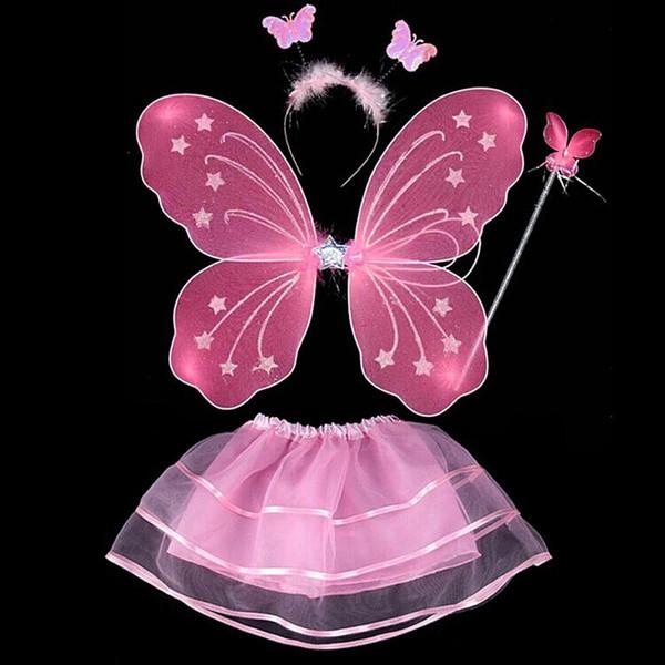 4 Pcs Fairy Princess Kids Costume Sets Butterfly Wings Wand Headband Tutu Skirt