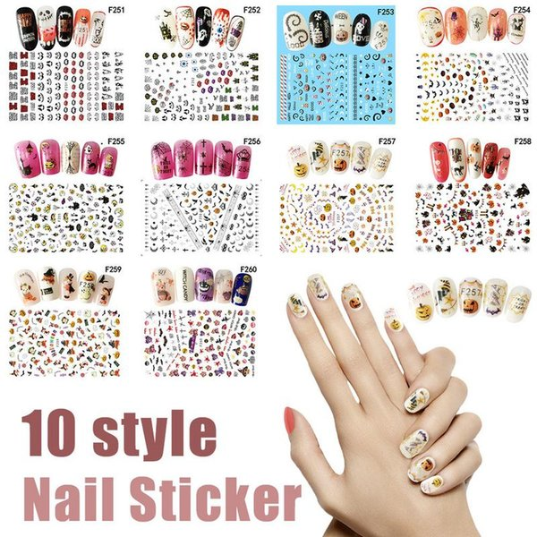 10Colors Nail Sticker Halloween Water Nail Art Sticker Decals Watermark Slider Cute Patterns Transfer Tattoos Manicure Wrap Tips