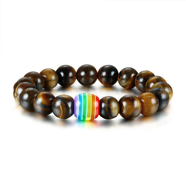 Fashion Gay Rainbow Bead Charm Tiger Eye Stones Beaded Bracelets for Women Men Stretch Unisex Beaded Jewelry
