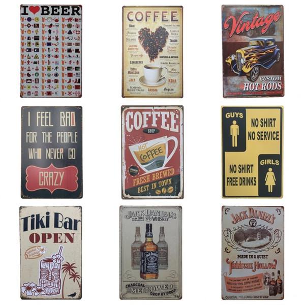 Vintage Kaffee Blechschild Ich Liebe Bier Tiki Bar Öffnen Zinn Poster 20 * 30 cm Metall Eisen Gemälde Top Qualität ZB
