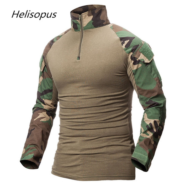 Helisopus Men Camouflage Print Army T-Shirt Male Combat Tactical T Shirt Camo Long Sleeve T-Shirts