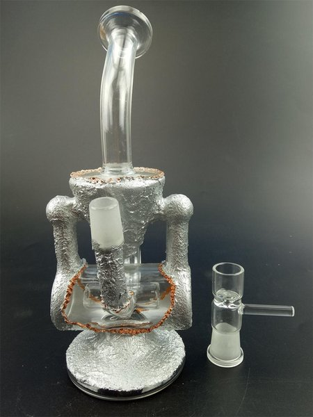 Silver-plating Hitman Glass Bong Baby Double Barrel Recycler Vapor Rig Bongs Water Pipe S Bong Dab Oil Rigs Percolator Bubbler Mini Drum