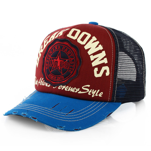 3a6be0ba Adult trucker mesh cap with embroidery patch baseball cap with worn out  brim net hat for