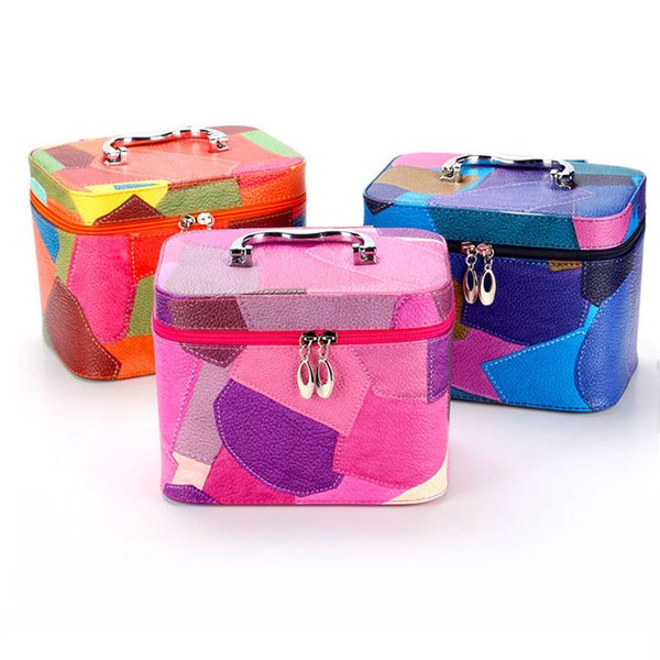 PU cosmetic case large and small set travel or home make up brushes organizer container tote box