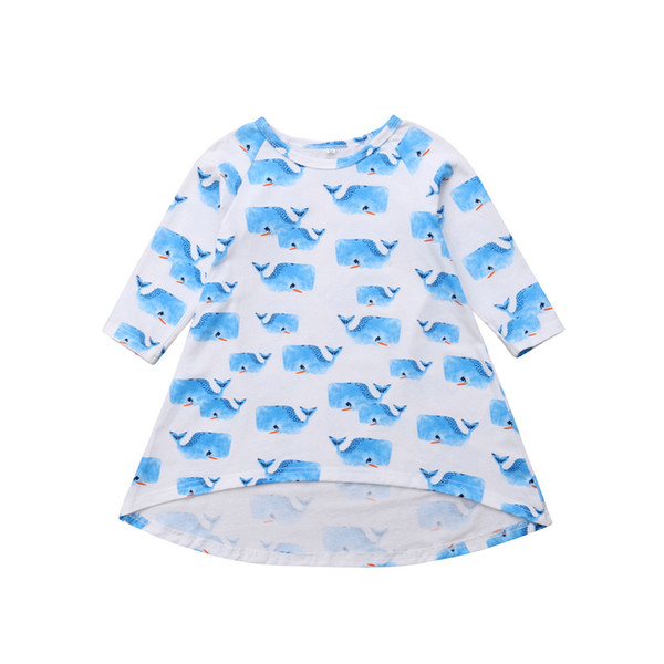 Newborn Infant Baby Girls Dress Whale Cotton Autumn Long Sleeve Dresses Round Neck Casual Cute Girl Clothing Clothes 0-3Y