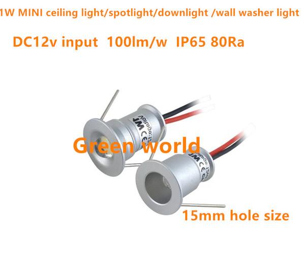 Mini plafoniera a LED da 1W / luce da incasso / spotlight / wall washer luce DC12V ingresso angolo di illuminazione IP6530D / 120D foro da 15 mm dimensioni 9 pz / lotto