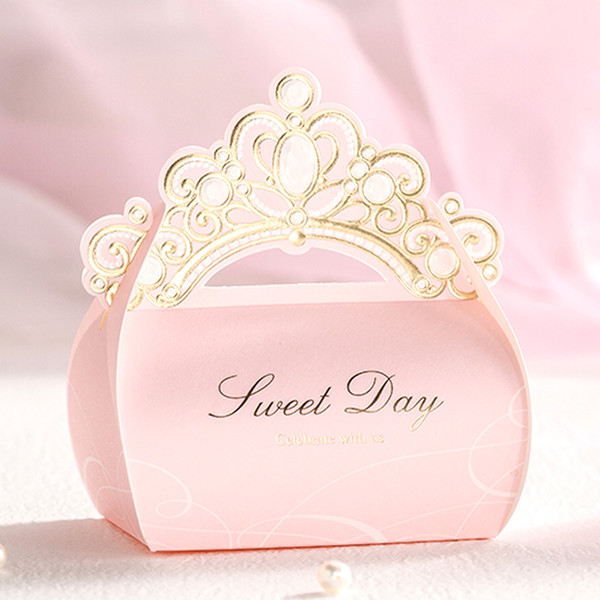 new princess crown wedding party candy boxes chocolate gift boxes romantic paper candy bag box wedding candy boxes favor