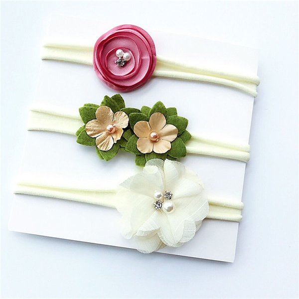 2018 3pcs/set infant ribbon lace pearl flower headband rubber rope hairband elastic headwear for kid hair accessories