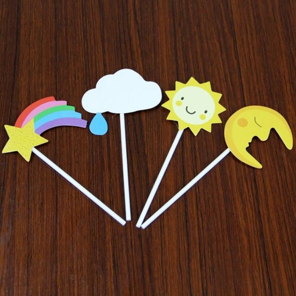 8 pcs/lot Pop Rainbow Birthday Cake Topper Paper Sunflower Cake Topper Moon Cupcake Toppers Party Favors For Party Decoration