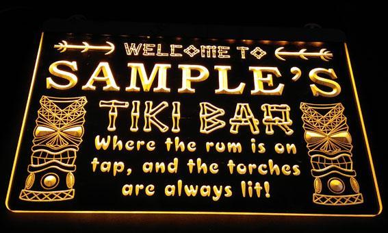 LS584-y Nome Personalizado Tiki Bar Cerveja Neon Light Sign Decor Frete Grátis Dropshipping Atacado 8 cores para escolher