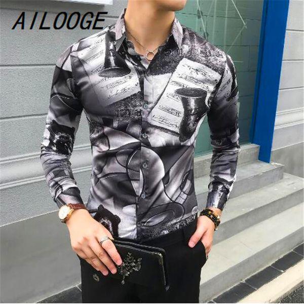 Fashion 2018 Autumn New Shirt Men Long Sleeve Korean Slim Fit Digital Print Tuxedo Night Club Party Dress Shirts For Men Clothes