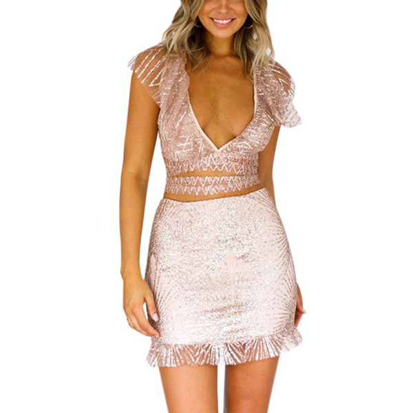 WEIXINBUY Neue Sexy Frauen Kleid V Kragen Mit 2 Glänzenden Gesäß Kurzmantel Quaste Reine Farbe Pailletten Minirock Helle anzug