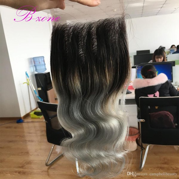 7A quality dark roots silver grey Peruvian hair closure 4x4 ombre closure T1b/grey two tone body wave closure