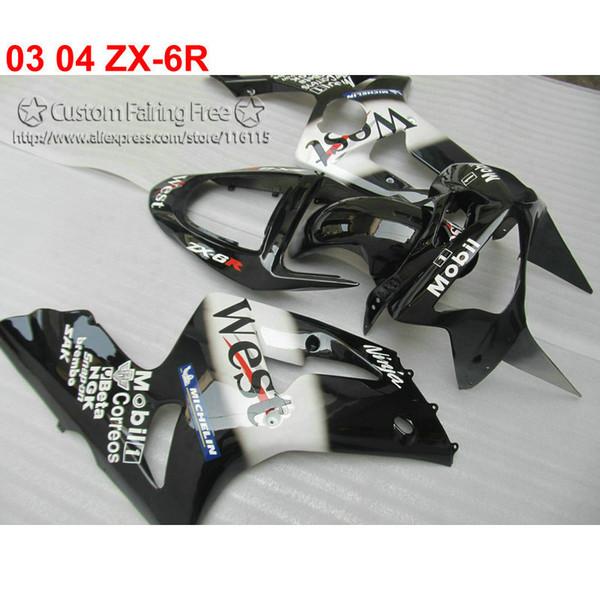 Lowest price fairing body kit for kawasaki Ninja ZX-6R 03 04 black White custom fairings set ZX6R 636 2003 2004 RE47