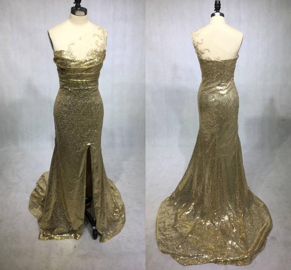 Imagem Real Ouro Champanhe Seuqins Sereia Longo Da Dama de Honra Vestidos 2019 Um ombro Lace Maid of Honor Convidado Do Casamento Vestido de Festa Barato