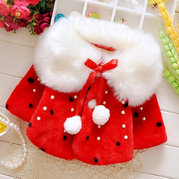 Spring Winter Girls Poncho Baby Girl Fur Collar Shawl Outwear Cute Kids Cape With Inlaid Pearl For 0-4 Years Baby 3 Colors