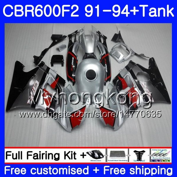 Body For HONDA CBR 600 F2 FS CBR600 F2 1991 1992 1993 1994 red silver 1MY.59 CBR600FS CBR 600F2 CBR600RR CBR600F2 91 92 93 94 Fairing kit